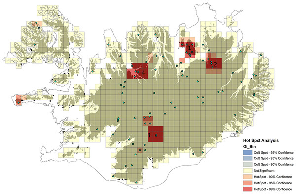 Results of Hot Spot Analysis showing statistically significant spatial clusters of non-native taxa within highland areas in Iceland (color scale—see details on the figure): 1: around Mývatn lake including Rejkjahlið, Námafjall, Krafla volcano; 2: Viðidalur and Vegaskarð, 3: areas W from Vatnajökull glacier (including i.e. Landmannalaugar and Jökulheimar); 4: highland areas bordering with the S part of Skagafjörður.