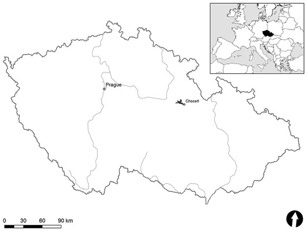 Location map of study area (black) near Choceň town in the Czech Republic.