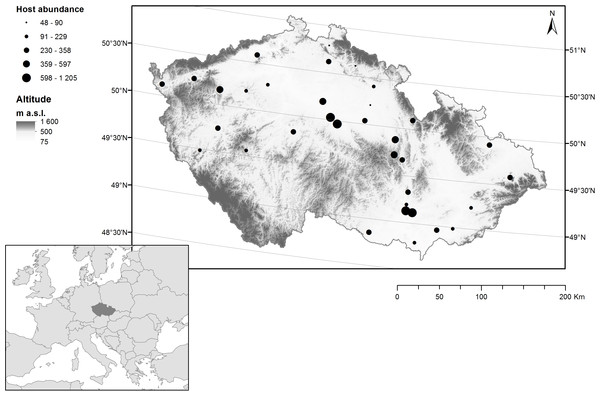 Distribution of sampling sites containing horse chestnut trees (Aesculus hippocastanum) infested with the horse chestnut leaf miner (Cameraria ohridella) in the Czech Republic.