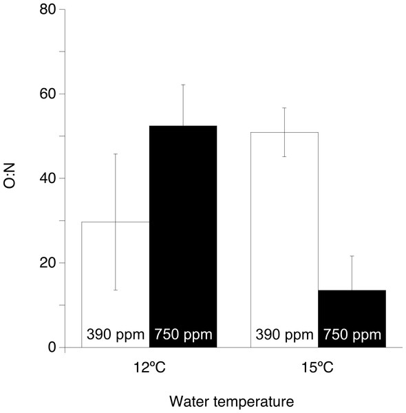 Ratio of respired oxygen to excreted nitrogen (O:N) of Desmophyllum dianthus under the two experimental temperatures (12 and 15 ° C) and the two pCO2 levels (390 and 750 ppm).