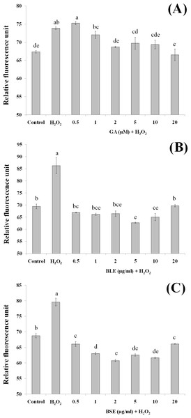 The effects of (A) gallic acid, (B) BLE and (C) BSE on ROS production of HepG2 cells following H2O2-induced oxidative damage.