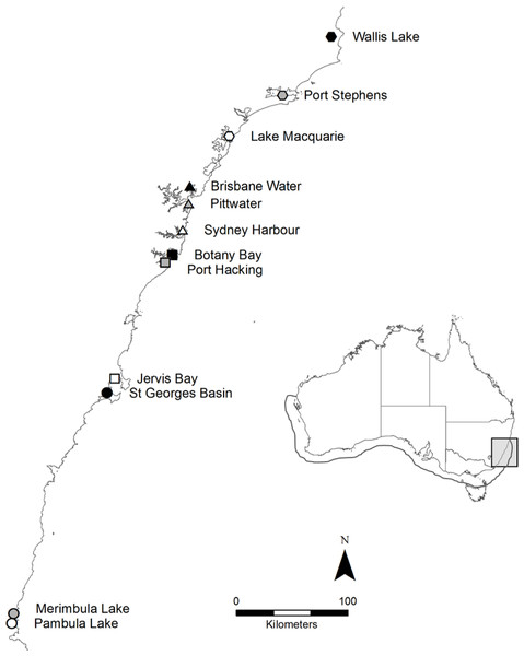 Map of the twelve sample locations in New South Wales, Australia.