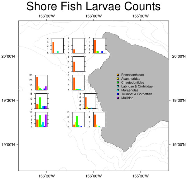 Larval shore fish trawl catch at each site.