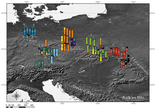 Geographic distribution of cpDNA haplotypes present in the investigated populations of A. halleri.