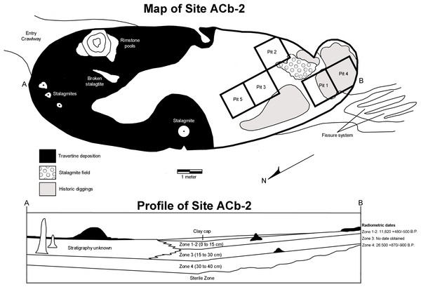 Map and stratigraphic profile of Bell Cave (site ACb-2), Colbert County, AL, USA.
