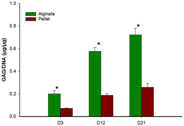 Comparison of glycosaminoglycan content from alginate bead and pellet culture system.