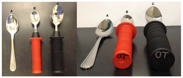 Adaptive utensils with modified handles.