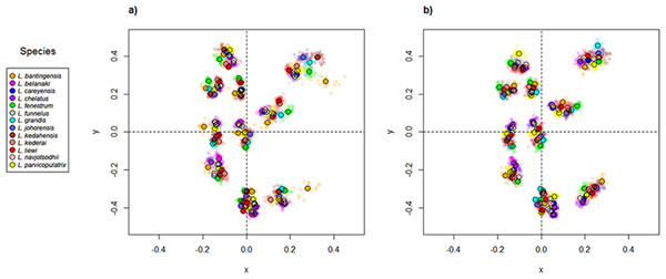 Scatter plots of Generalized Procrustes Analysis coordinates of all specimens for the (A) ventral anchors and (B) dorsal anchors.