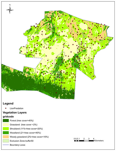 Lion predation and vegetation cover.