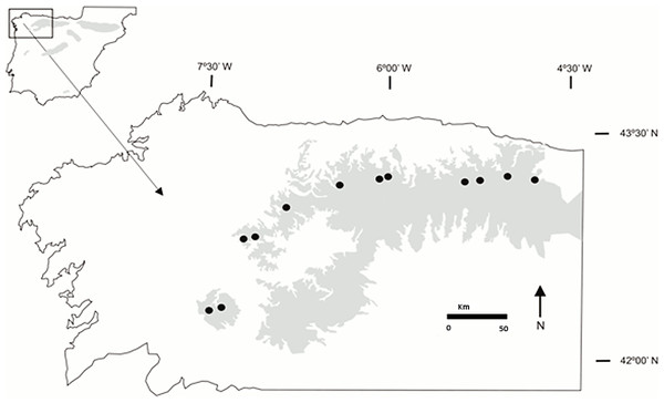 Location of the Gentiana lutea populations sampled.