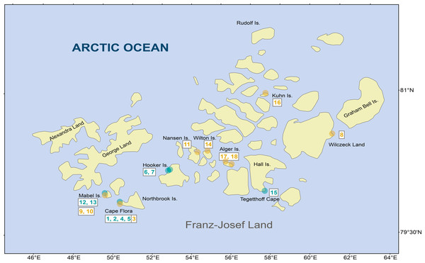 Diatom samples localities in Franz Josef-Land Archipelago.
