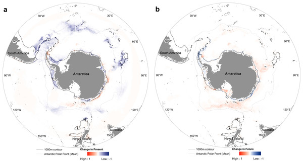 Nematocarcinus lanceopes range loss and gain from (A) Past last glacial maximum period to Present day, (B) from Present to Future.