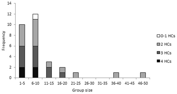 The frequency of different group sizes for 30 groups of fifth–sixth instar Uraba lugens caterpillars observed in the field.
