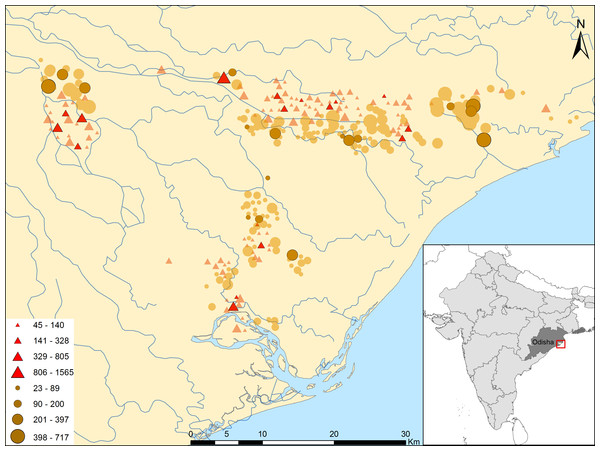 Study site, eligible villages and original sample of flooded and non-flooded villages in Jagatsinghpur district, Odisha, India.