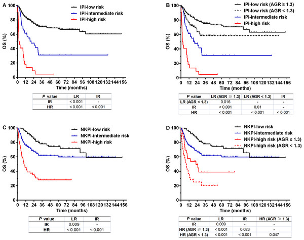 Overall survival (OS) for patients with NK/T-cell lymphoma according to prognostic indexes.