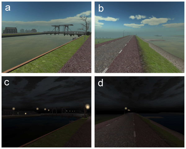 Screenshots of the VE in daytime (A, B) and at night (C, D).