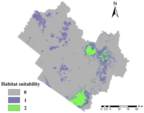 Distribution of suitable cervid habitat.