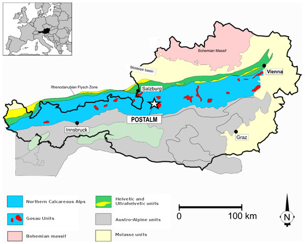 Geological sketch-map of the Austrian Alps.