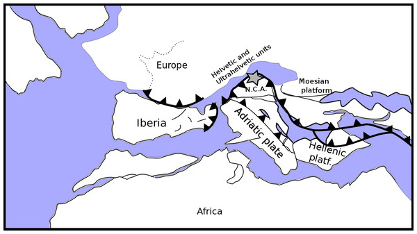 Palaeogeographic reconstruction of the Penninic realm (redrawn, simplified and modified from Schettino & Turco, 2011).