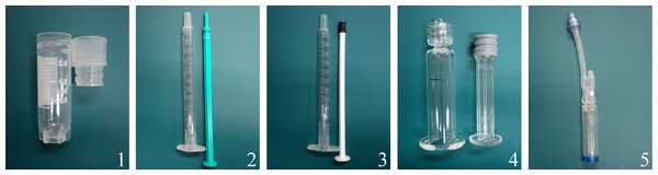Part I: transport containers: (1) cryotube, (2) plastic syringe/plastic tipped plunger, (3) plastic syringe/rubber tipped plunger, (4) glass syringe/rubber tipped plunger, and (5) CellSeal.