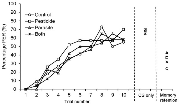 Percentage (%) of B. terrestris bumblebee workers showing proboscis extension response (PER) to odour (CS, conditioned stimulus) stimulation across 10 CS-US (US: unconditioned stimulus) trials for bees exposed to pesticide clothianidin and ingested parasite N. ceranae spores.