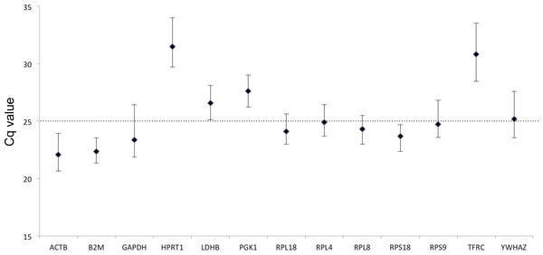 Expression levels of candidate HKGs in the tested beluga blood samples (n = 60).