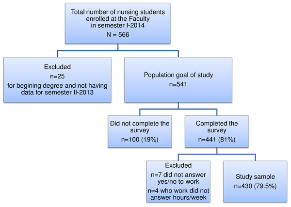 Flow chart of nursing students enrolled at the National University of Bogotá (Colombia) participating in the study.