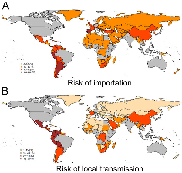 Global distribution of risks of importation and local transmission with Zika virus.