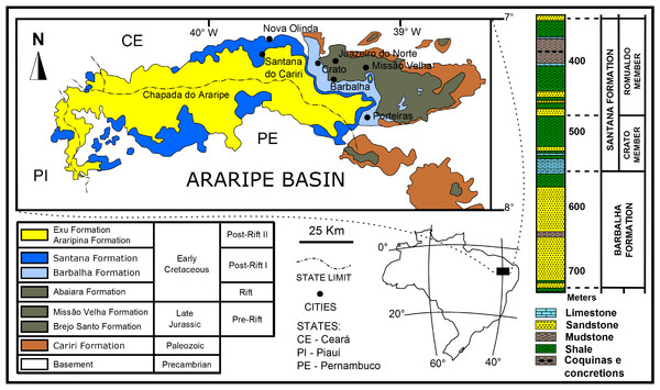 Araripe Basin locality and lithology.