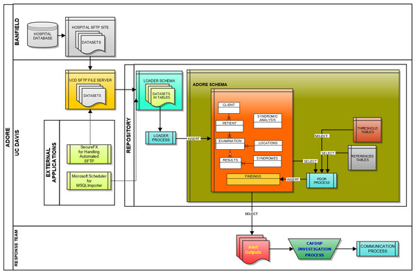 Schematic of the loader process used to transfer data from a hospital database to a repository used for syndromic surveillance analyses.