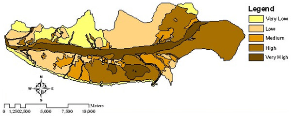 Wind erosion potential map of the study area using IRIFR models in 2004.