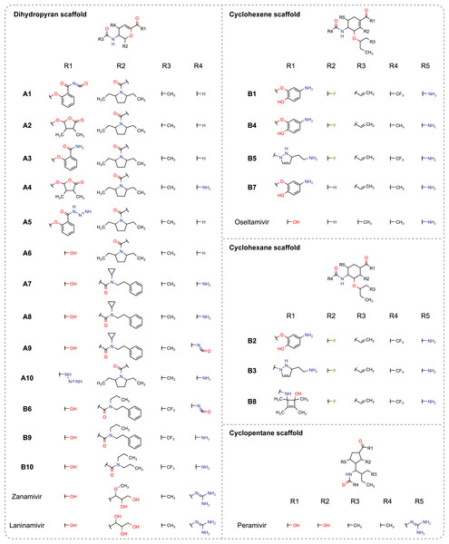 Molecular structures of enumerated ligands against neuraminidase of influenza A (A1–A10) and B (B1–B10) are categorized according to their scaffold types and compared to FDA-approved drugs (e.g., zanamivir, oseltamivir and peramivir) as well as the long-acting laninamivir.