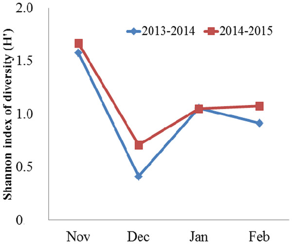 Monthly mean Shannon index of diversity (H′) for the diet of the Black-necked Crane G. nigricollis wintering in the Dashanbao National Nature Reserve, China.