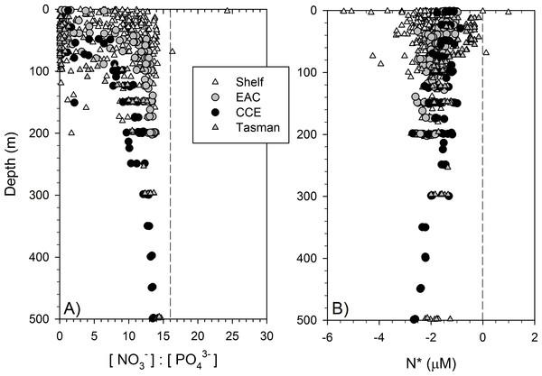 Dissolved nitrogen pool relative to phosphorus.