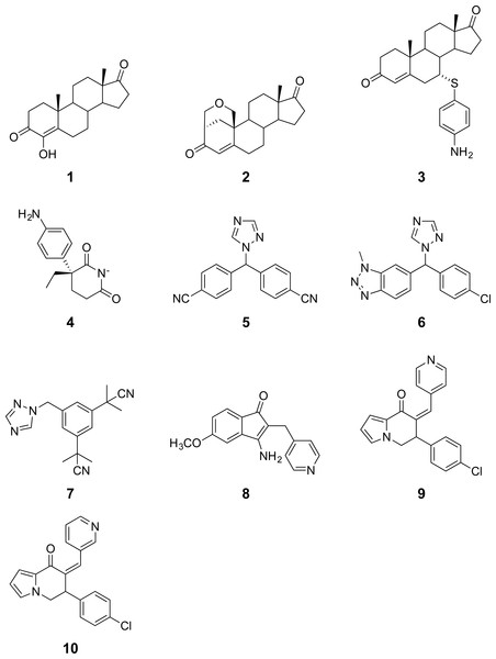 Chemical structures of aromatase inhibitors.