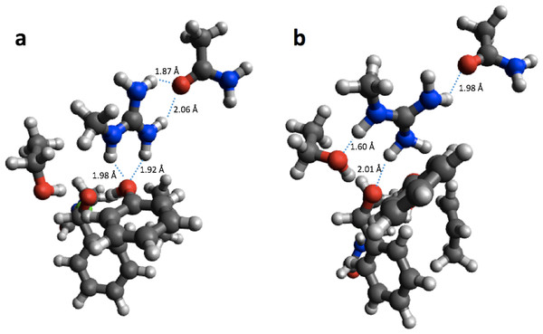 B3LYP/6-31G(d,p) (A) and PM6 (B) optimized small structural model of the transition state in the HheC reaction mechanism.