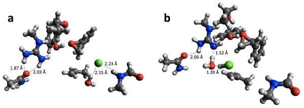 B3LYP/6-31G(d,p) (A) and PM6 (B) optimized small structural model of the product in the HheC reaction mechanism.
