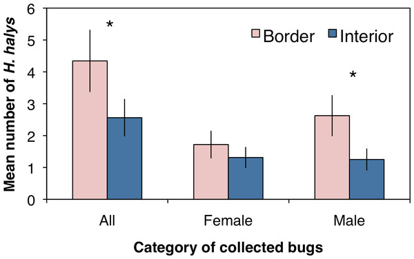 Mean (±SEM) density of H. halys collected in peach orchards comparing separately all, only female, and only male bugs between the orchard border and interior.