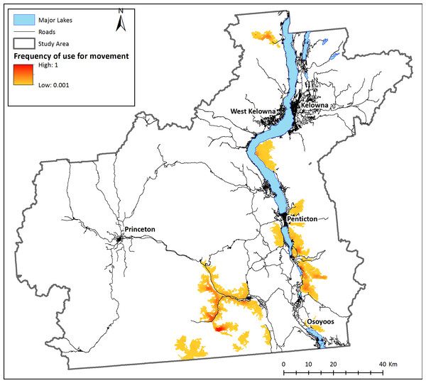 Landscape connectivity for existing bighorn sheep subpopulations.