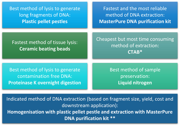 Summary of conclusion regarding the best methods of tissue homogenisation and DNA extraction.