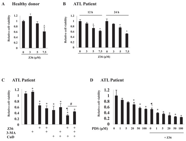 Z36 inhibits proliferation and enhances CuD-induced cell death in primary ATL patient cells.