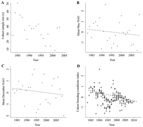 Environmental variables used in analyses of age at first successful reproduction, size of the first successful brood and the proportion of successful breeders by cohort.