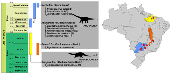 Temporal and geographic distribution of Brazilian Cretaceous Sauropods.