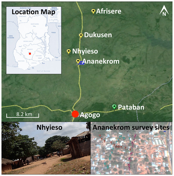 Map of the region under investigation across the AAN district within the Ashanti region of Ghana.
