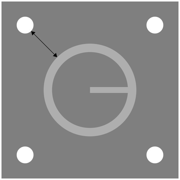 Target and four-dot mask drawn to scale.