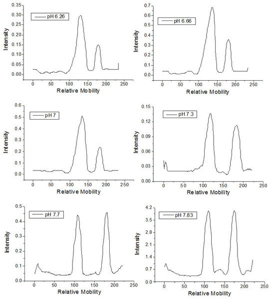 Densitometry of the thin layer chromatographs of rhamnolipids synthesized in culture medium at different pH values.