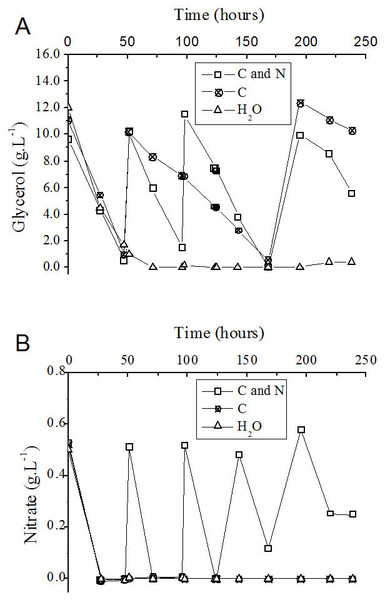 Progress curve of glycerol (A) and nitrate (B) consumption during the fed-batch process using different feeding strategies.