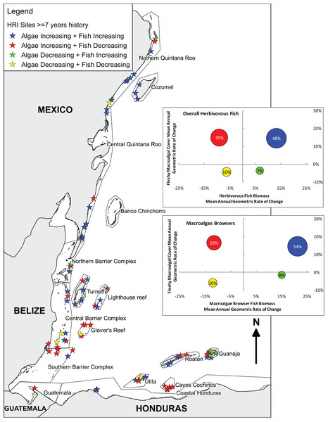 Long-term herbivorous fish and benthic fleshy macroalgal cover trends on the Mesoamerican Reef.