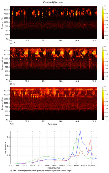 Constant-Q spectrograms for Primary (A) Secondary (B) and Silvopasture (C) sites.
