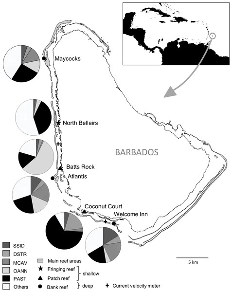 Map of Barbados indicating location and characteristics of the six reef sites surveyed, and the two current velocity meters.